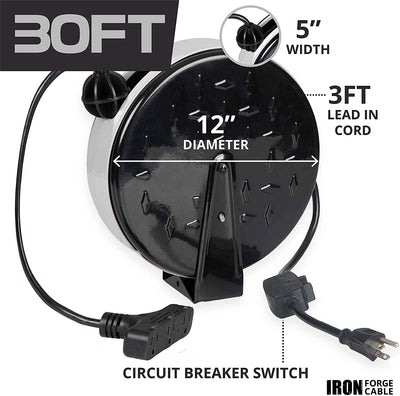 30Ft Retractable Extension Cord Reel with Breaker Switch & 3 Electrical Power Outlets - 16/3 SJTW Durable Black Cable - Perfect for Hanging from Your Garage Ceiling