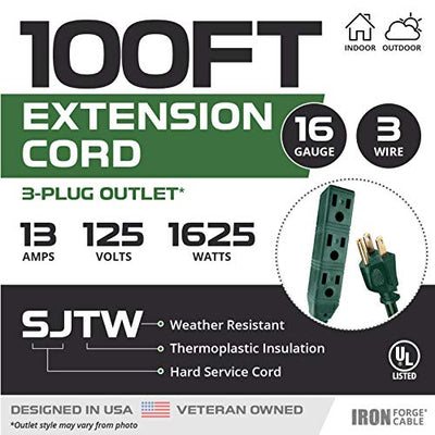 100 Ft Extension Cord with 3 Electrical Power Outlets - 16/3 SJTW Durable Green Cable