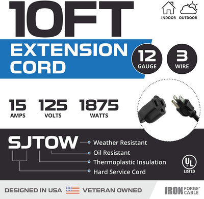 10 Ft Black Oil Resistant Extension Cord for Farms and Ranches - 12/3 SJTOW Heavy Duty Outdoor Cable with 3 Prong Grounded Plug for Safety