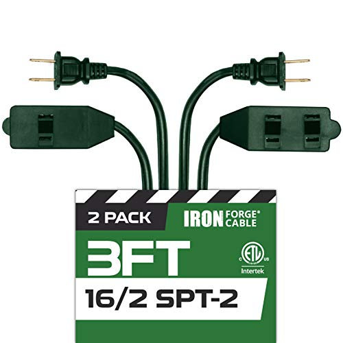 3 Ft Green Extension Cord 2 Pack - 16/2 Durable Electrical Cable with 3 Power Outlets