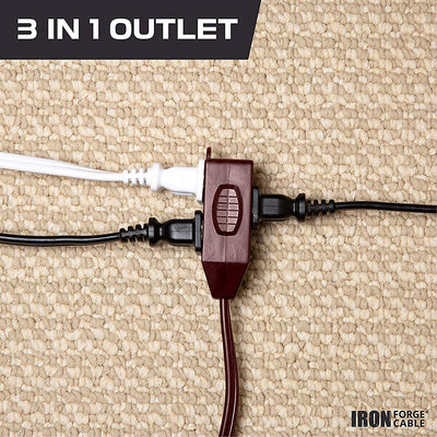 20 Ft Brown Extension Cord 2 Pack - 16/2 Durable Electrical Cable