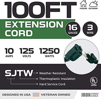 2 Pack of 100 Ft Green Extension Cords - 16/3 SJTW Durable Electrical Cable Set