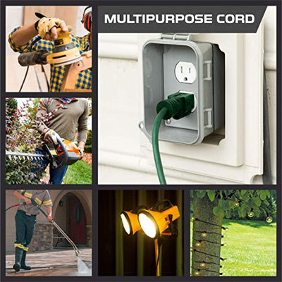 25 foot Extension cord pass through electrical garden 3 prong outlet indoor outdoor