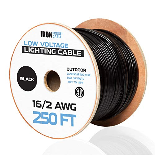 16/2 Low Voltage Landscape Wire - 250ft Outdoor Low-Voltage Cable for Landscape Lighting, Black