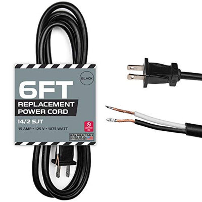 14 AWG Replacement Power Cord with Open End - 6 Ft Black Extension Cable, 2 Wire 14/2 SJT