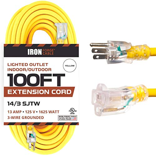 Lighted Outdoor Extension Cord - 14/3 SJTW Heavy Duty Yellow Extension Cable with 3 Prong Grounded Plug for Safety - Great for Garden and Major Appliances - Three Lengths to Choose From!