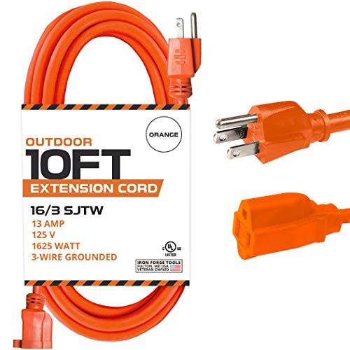10 Ft Orange Extension Cord - 16/3 SJTW Heavy Duty Outdoor Extension Cable with 3 Prong Grounded Plug for Safety - Great for Garden & Major Appliances