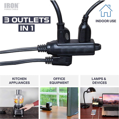 8 Ft Extension Cord with 3 Electrical Power Outlet - 16/3 Durable Black Cable