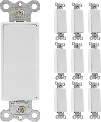 Rocker Light Switch, 10 Pack - 3 Way Decorator Paddle Switch, Three Wire, Residential Grade, 15 Amp, 120/277V, UL Listed