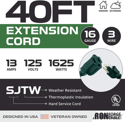 40 Foot Outdoor Extension Cord - 16/3 SJTW Durable Green Extension Cable with 3 Prong Grounded Plug for Safety - Great for Garden and Major Appliances