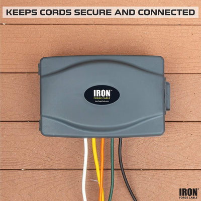 Weatherproof Extension Cord Connection Box - Waterproof Outdoor Cover for Electrical Connections, Gray
