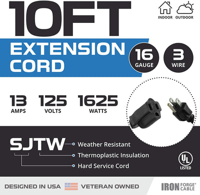 10 Ft Outdoor Extension Cord - 16/3 Durable Black Cable