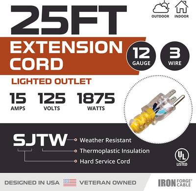25 Foot Lighted Outdoor Extension Cord - 12/3 SJTW Heavy Duty Yellow Extension Cable Extension Cable with 3 Prong Grounded Plug for Safety - Great for Garden and Major Appliances