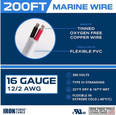 200 Ft Marine Wire 16 Gauge Duplex - Tinned Copper Boat Cable, Oxygen Free, 600 Volts