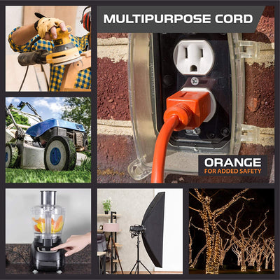 25 Ft Orange Extension Cord - 16/3 SJTW Heavy Duty Outdoor Extension Cable with 3 Prong Grounded Plug for Safety - Great for Garden & Major Appliances