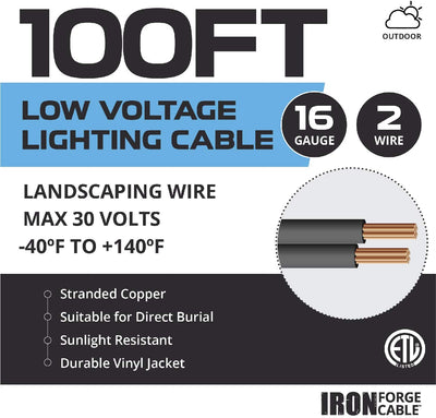 16/2 Low Voltage Landscape Wire - 100ft Outdoor Low-Voltage Cable for Landscape Lighting, Black