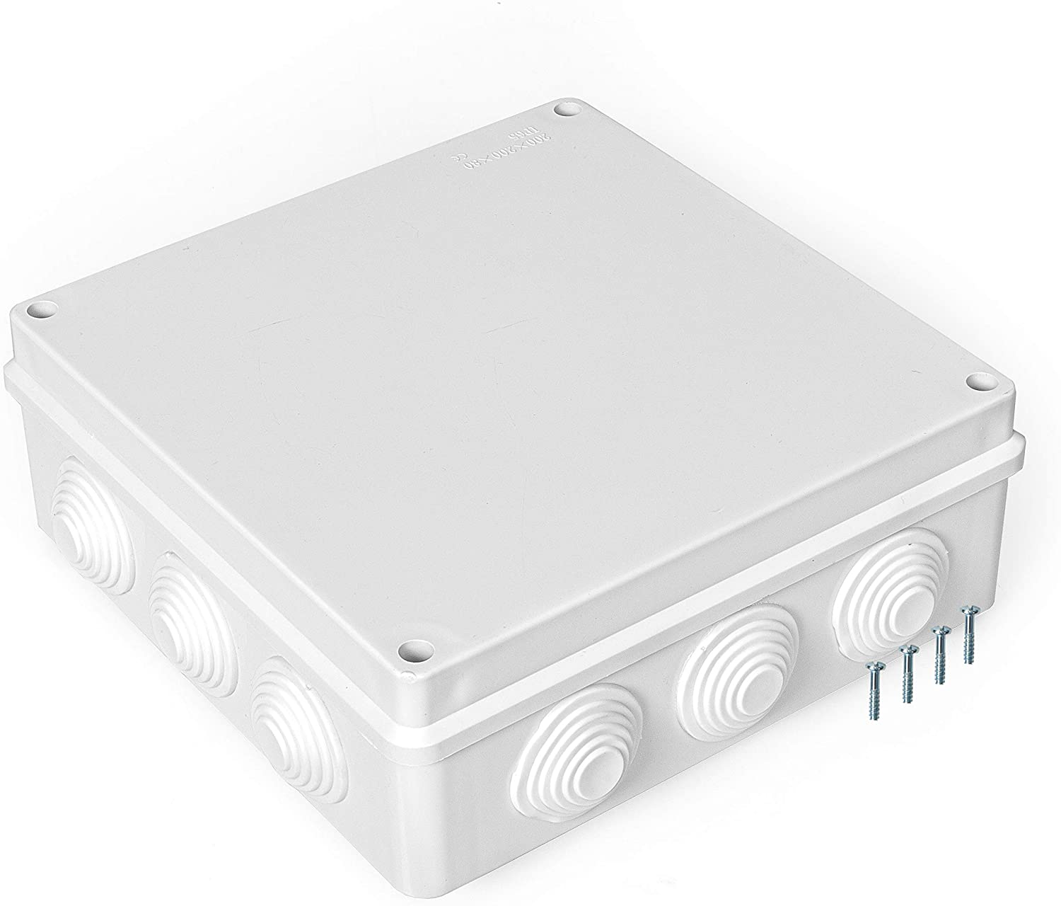 Outdoor Electrical Junction Box - 8 x 8 Inch Waterproof Plastic Box with Cover for Electronics