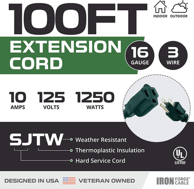 100 Foot Outdoor Extension Cord - 16/3 SJTW Durable Green Extension Cable with 3 Prong Grounded Plug for Safety - Great for Garden and Major Appliances