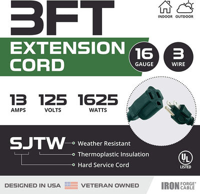 2 Pack of 3 Ft Green Extension Cords - 16/3 SJTW Durable Electrical Cable Set