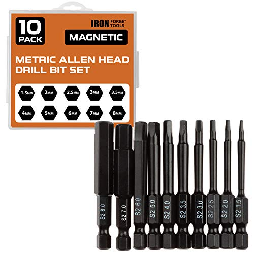 Hex Head Allen Wrench Drill Bit Set of 10 - Metric Hex Key Driver Bits with Magnetic Tips