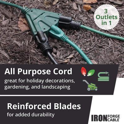 15 Foot Outdoor Extension Cord with 3 Electrical Power Outlets - 16/3 SJTW Durable Green Extension Cable with 3 Prong Grounded Plug for Safety
