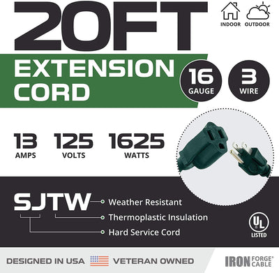 2 Pack of 20 Ft Outdoor Extension Cords - 16/3 Durable Green Cord