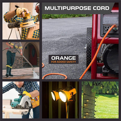 50 Foot Lighted Outdoor Extension Cord - 10/3 SJTW Orange 10 Gauge Extension Cable with 3 Prong Grounded Plug for Safety - Great for Garden and Major Appliances