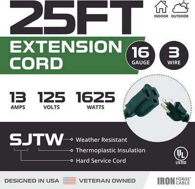 2 Pack of 25 Foot Outdoor Extension Cords - 16/3 SJTW Durable Green Extension Cord with 3 Prong Grounded Plug for Safety - Great for Garden and Major Appliances