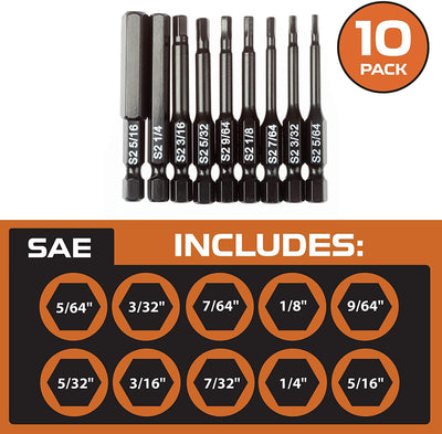 Hex Head Allen Wrench Drill Bit Set of 10 - SAE Hex Key Driver Bits with Magnetic Tips