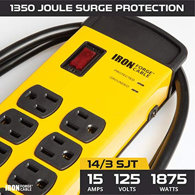 8 Outlet Heavy Duty Surge Protector Power Strip with 2 USB Charging Ports - 14/3 SJT Black and Yellow Metal Surge Suppressor with 6 Foot Long Extension Cord