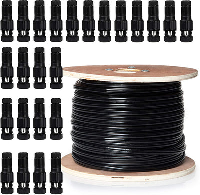 14/2 Low Voltage Landscape Wire with 24 Connectors - 250ft Outdoor Low-Voltage Cable for Landscape Lighting, Black