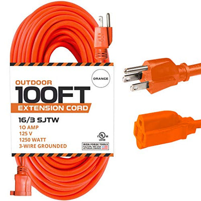 100 Ft Orange Extension Cord - 16/3 SJTW Heavy Duty Outdoor Extension Cable with 3 Prong Grounded Plug for Safety - Great for Garden & Major Appliances