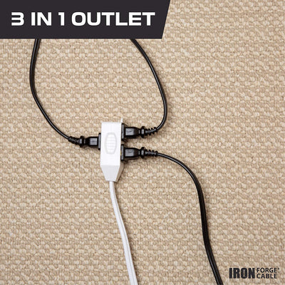 3 Ft White Extension Cord 2 Pack - 16/2 Durable Electrical Cable