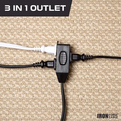 Black Extension Cord 3 Pack, 6ft 10ft & 15ft - 16/2 Durable Electrical Cable