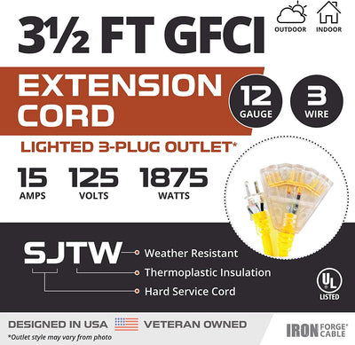 3.5 Foot Lighted Outdoor GFCI Extension Cord with 3 Electrical Power Outlets - 12/3 SJTW Heavy Duty Yellow Pigtail Extension Cable with 3 Prong Grounded Plug for Safety