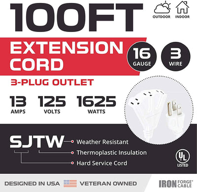 100 Ft Outdoor Extension Cord with 3 Electrical Power Outlets - 16/3 SJTW Durable White Cable with 3 Prong Grounded Plug for Safety