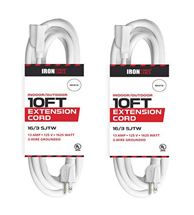 10 Ft White Extension Cord 2 Pack - 16/3 Durable Electrical Cable