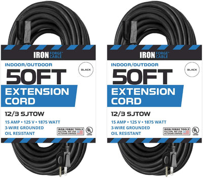 2 Pack of 50 Ft Oil Resistant Extension Cords for Farms and Ranches - 12/3 SJTOW Heavy Duty Black Outdoor Cable with 3 Prong Grounded Plug for Safety