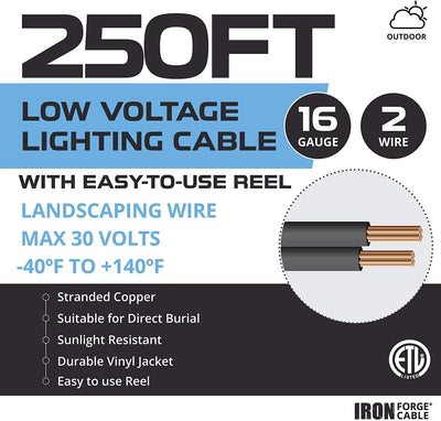 16/2 Low Voltage Landscape Wire with 24 Connectors - 250ft Outdoor Low-Voltage Cable for Landscape Lighting, Black