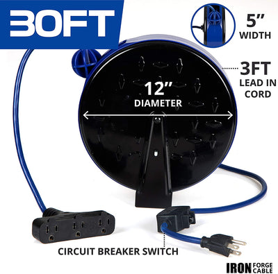 30Ft Retractable Extension Cord Reel with Breaker Switch & 3 Electrical Power Outlets - 16/3 SJTW Durable Blue Cable - Perfect for Hanging from Your Garage Ceiling