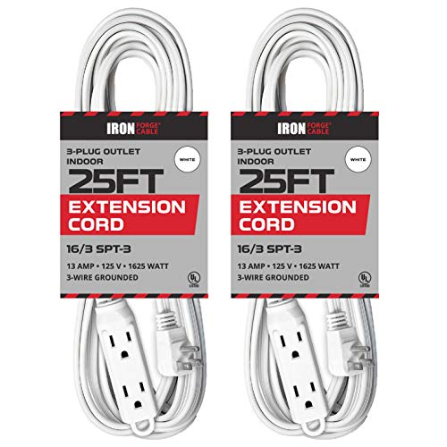 2 Pack of 25 Ft Extension Cords with 3 Electrical Power Outlets - 16/3 Durable White Cable