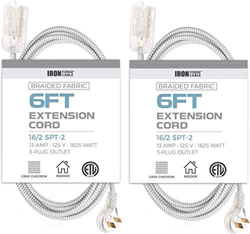 6Ft Fabric Extension Cord 2 Pack - 16/2 SPT-2 Gray Chevron Braided Cloth Electrical Power Cable Set