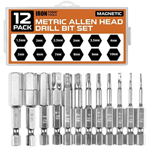 Allen Wrench Drill Bit Set of 12 - Metric Hex Head Bits with Magnetic Tips