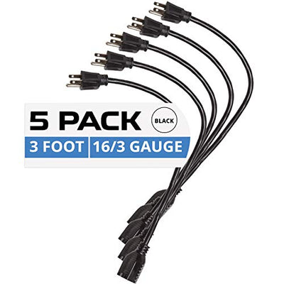 5 Pack of 3Ft Black Extension Cords - 16/3 SJT Durable Electrical Extension Cord Set