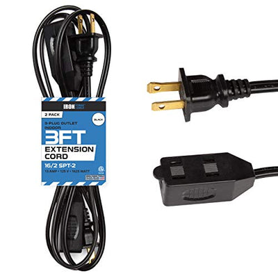 3 Ft Black Extension Cord 2 Pack - 16/2 Durable Electrical Cable
