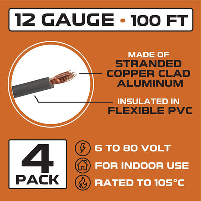 12 Gauge Primary Wire - 4 Roll Assortment Pack - 100 Ft of Copper Clad Aluminum Wire per Roll