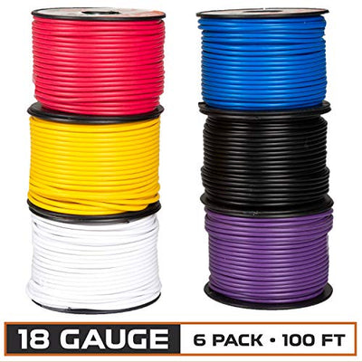 18 Gauge Primary Wire - 6 Roll Assortment Pack - 100 Ft of Copper Clad Aluminum Wire per Roll