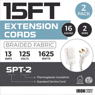 15Ft Fabric Extension Cord 2 Pack - 16/2 SPT-2 Gray Chevron Braided Cloth Electrical Power Cable Set