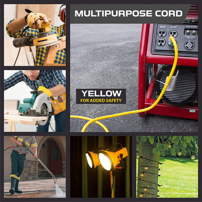 75 Foot Lighted Outdoor Extension Cord - 10/3 SJTW Yellow 10 Gauge Extension Cable with 3 Prong Grounded Plug for Safety - Great for Garden and Major Appliances