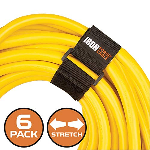 Extension Cord Wrap Organizer, 6 Piece Multi-Pack of Elastic Storage Straps - Two 9 Inch, Two 12 Inch, and Two 18 Inch Stretchy Hook and Loop Cinch Straps for Power Cables, Hoses, Ropes, and More